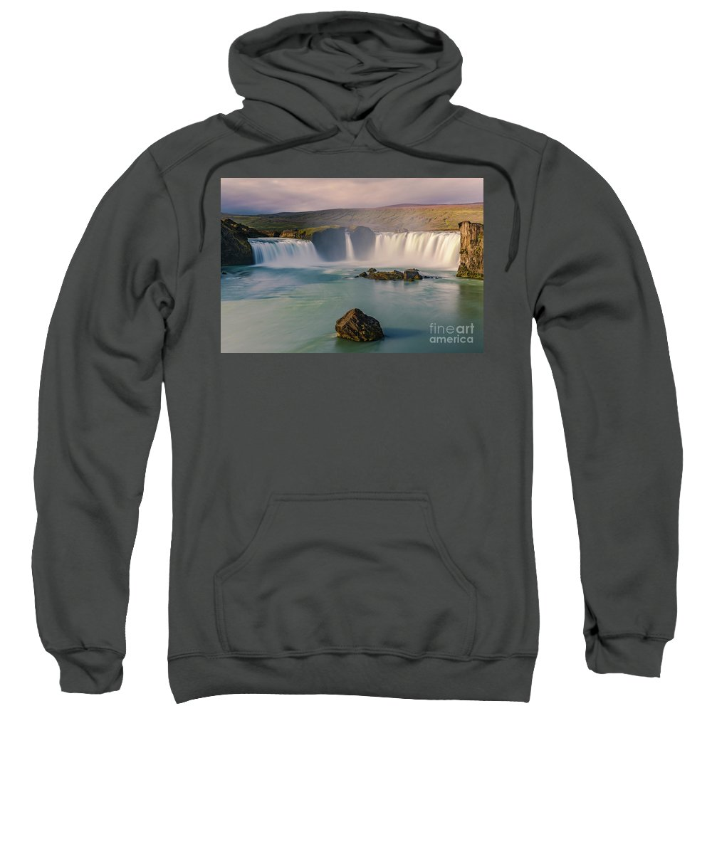 Attraction Sweatshirt featuring the photograph Godafoss In Iceland by Henk Meijer Photography