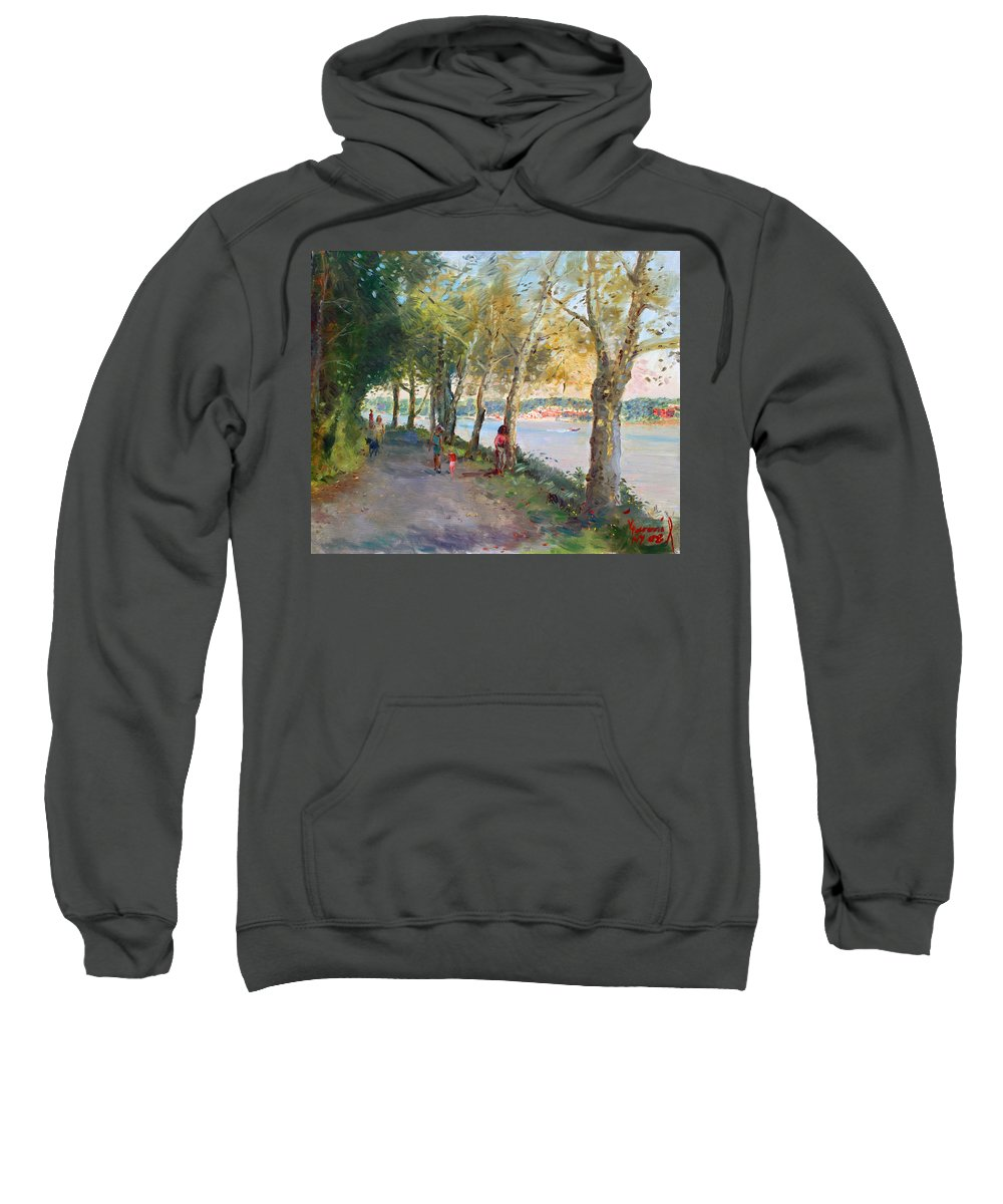 Strolling Sweatshirt featuring the painting Going For A Stroll by Ylli Haruni