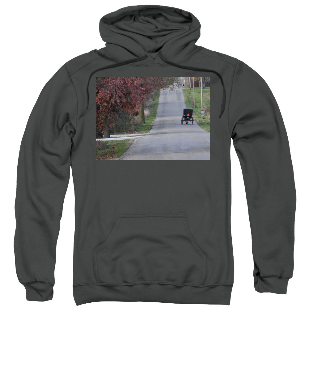 Amish Buggy Sweatshirt featuring the photograph Going Home by David Arment