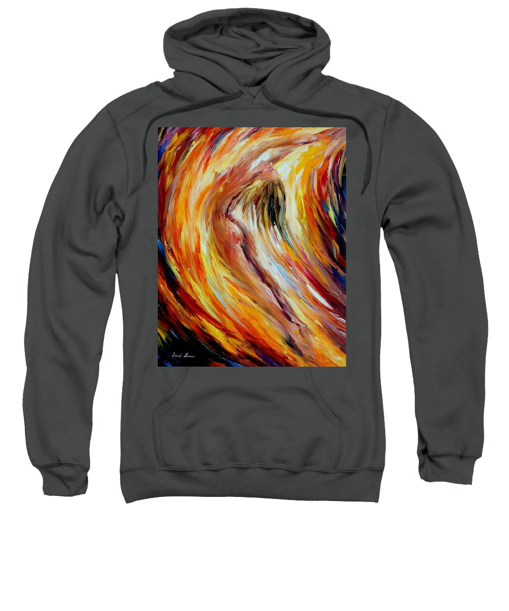 Nude Sweatshirt featuring the painting Gold Falls by Leonid Afremov