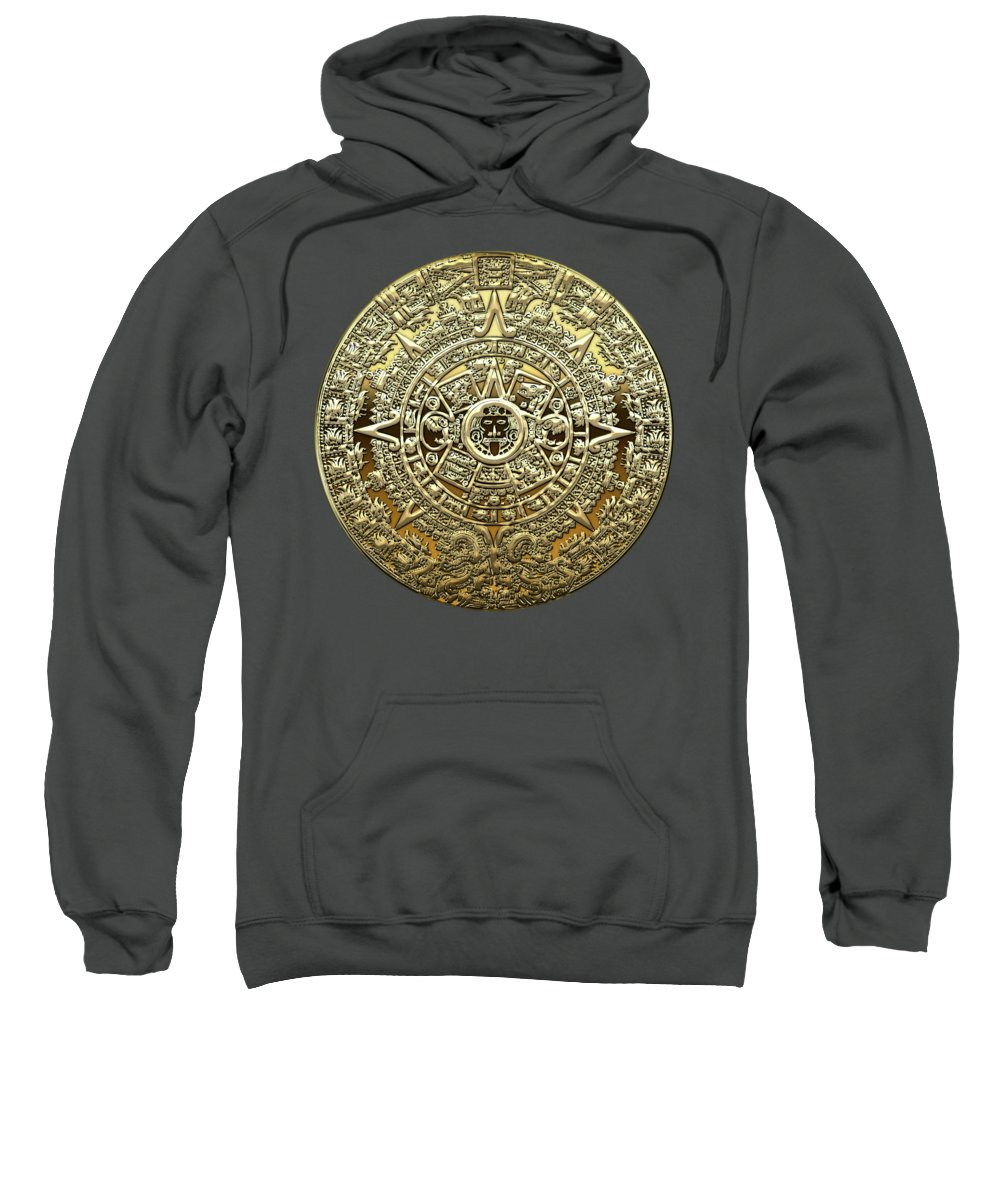 'treasures Of Mesoamerica' Collection By Serge Averbukh Sweatshirt featuring the digital art Gold Mayan-aztec Calendar On Brown Leather by Serge Averbukh