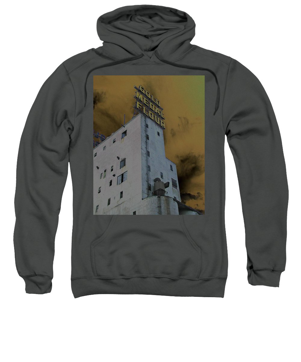 Minneapolis Sweatshirt featuring the photograph Gold Medal Flour by Tom Reynen