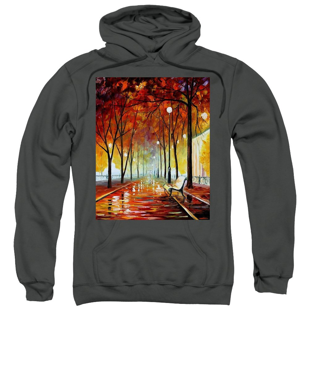 Afremov Sweatshirt featuring the painting Golde Park by Leonid Afremov