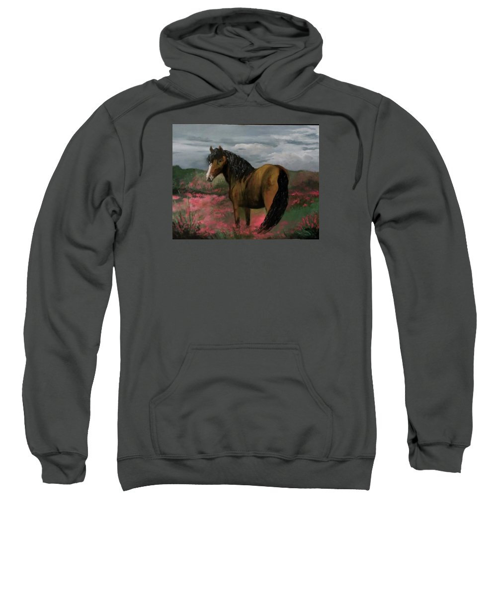 Golden Beauty In Fields Of Pink Flowers.. Sweatshirt featuring the painting Golden Beauty by Melissa Young