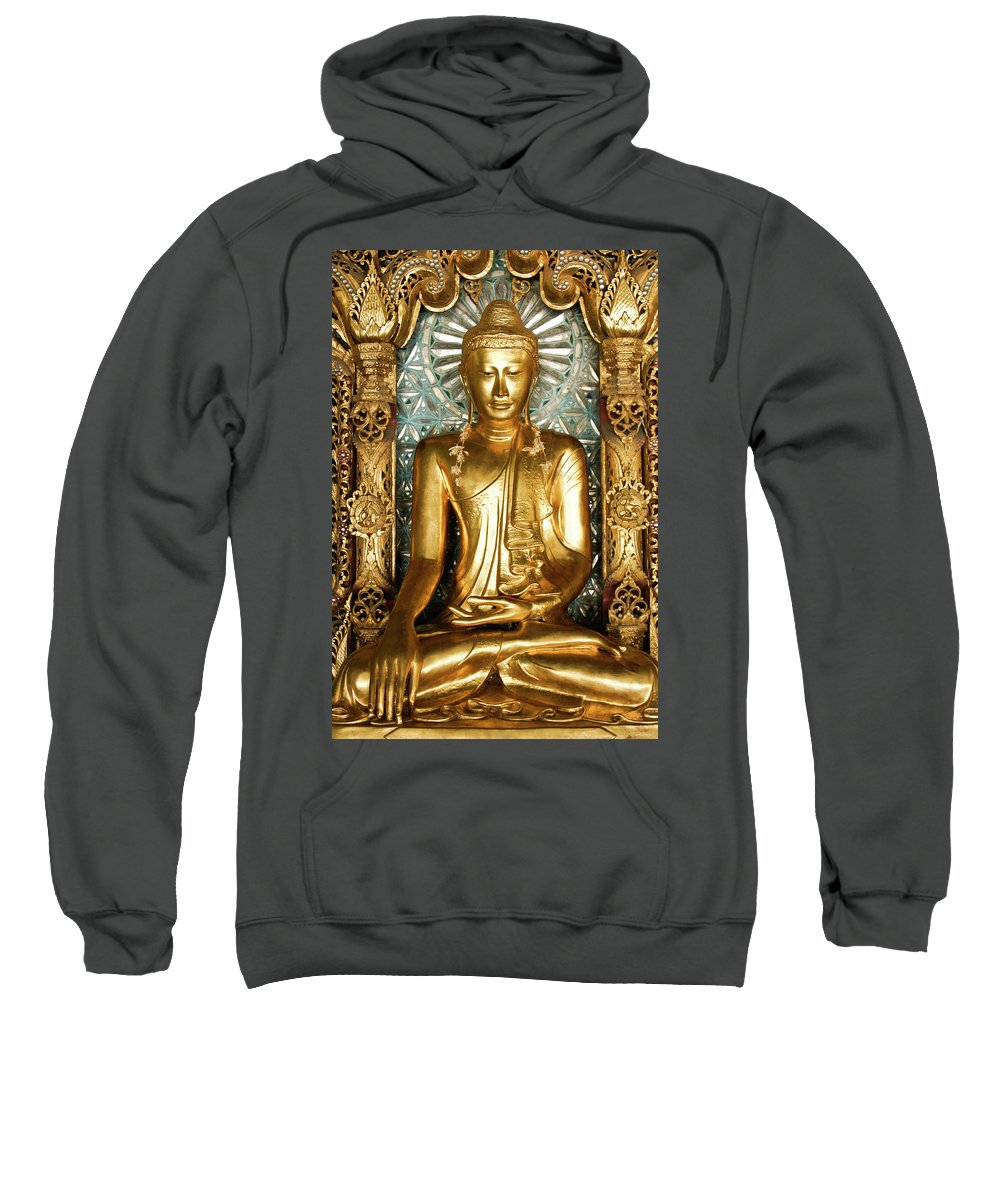 Asia Sweatshirt featuring the photograph Golden Buddha by Michele Burgess
