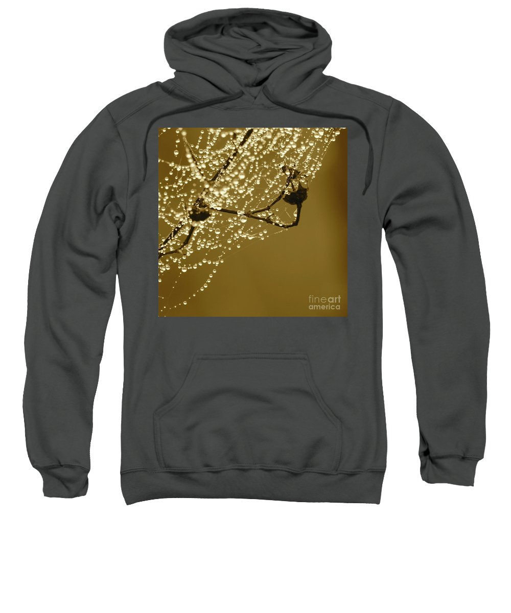 Dew Sweatshirt featuring the photograph Golden Dewdrops by Carol Groenen