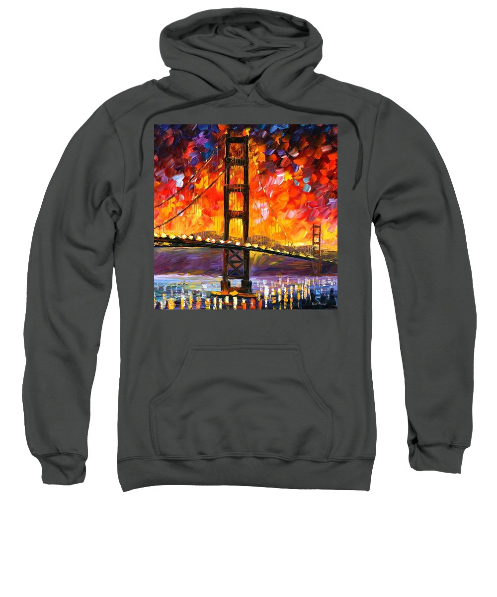 City Sweatshirt featuring the painting Golden Gate Bridge by Leonid Afremov