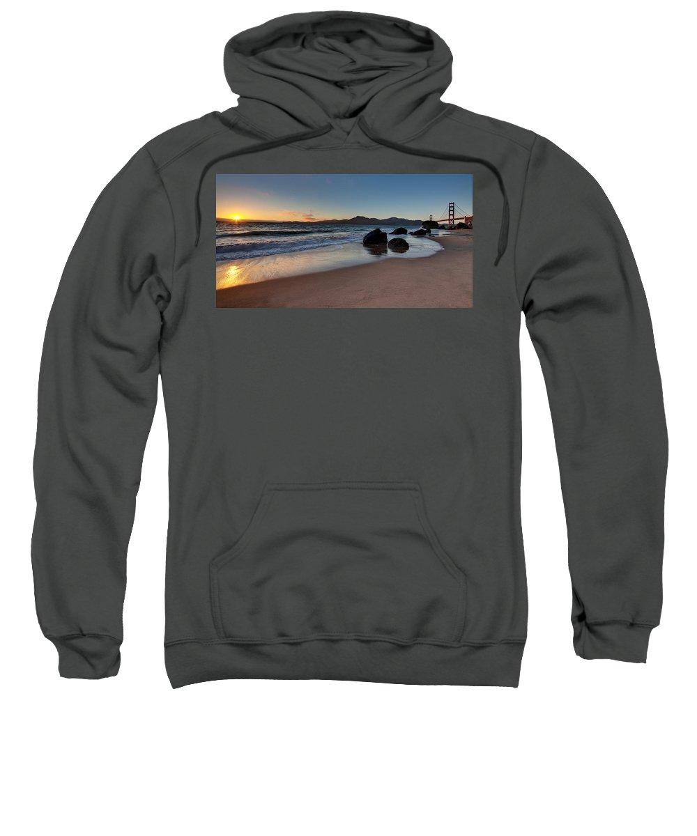 Golden Gate Sweatshirt featuring the photograph Golden Gate Sunset by Mike Reid