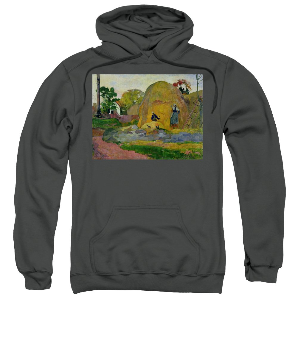 Yellow Haystacks Sweatshirt featuring the painting Golden Harvest by Paul Gauguin