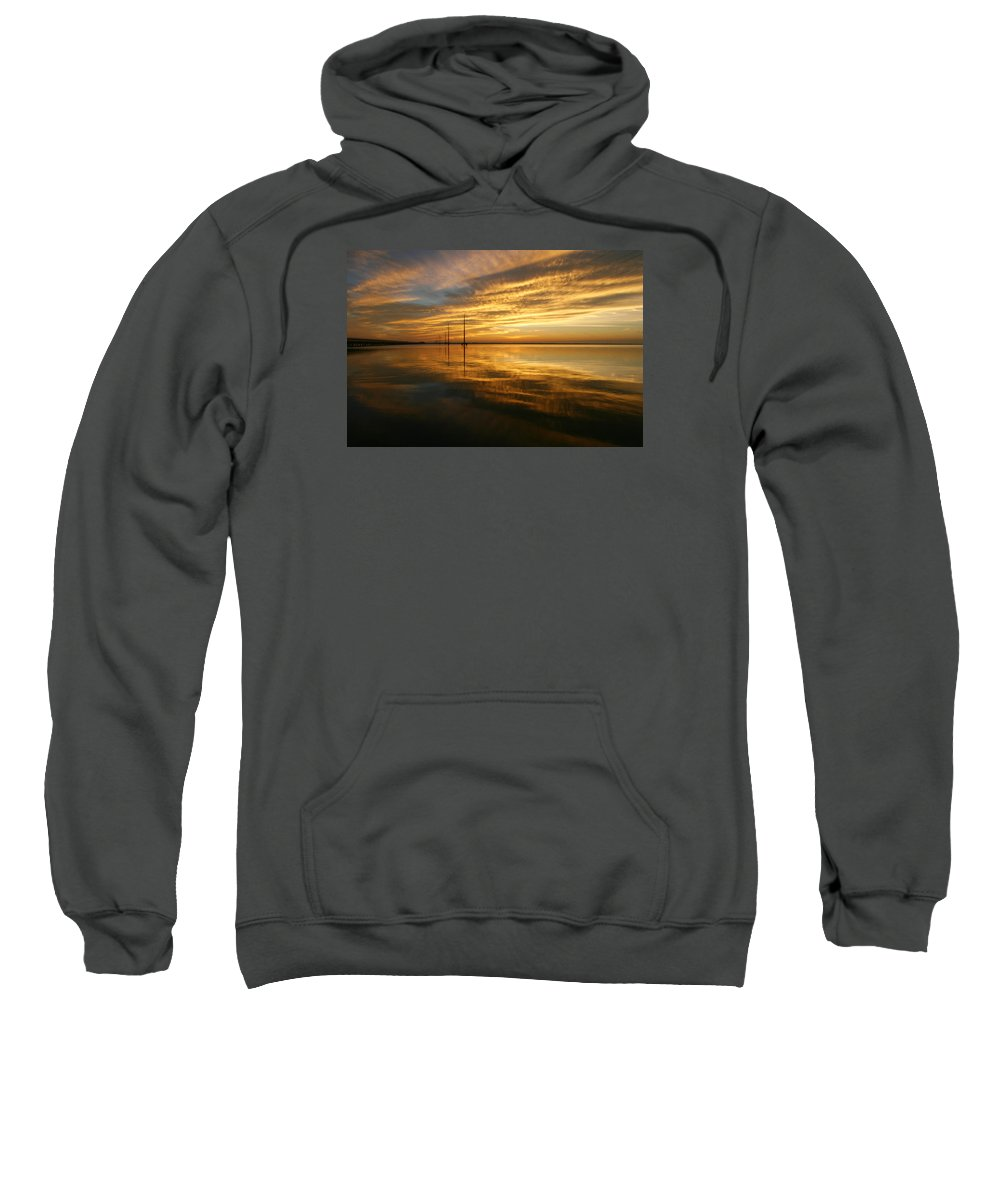 Sky Sunset Sun Night Fall Water Sea Ocean Inlet Gold Golden Sweatshirt featuring the photograph Golden Light by Robert Och