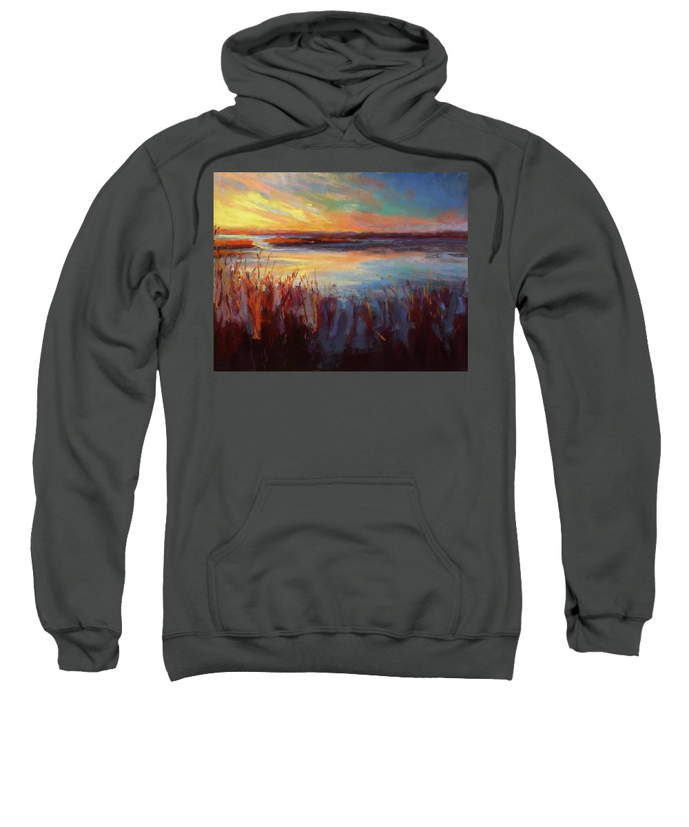 Marsh Sweatshirt featuring the painting Golden Marsh by Susan Jenkins