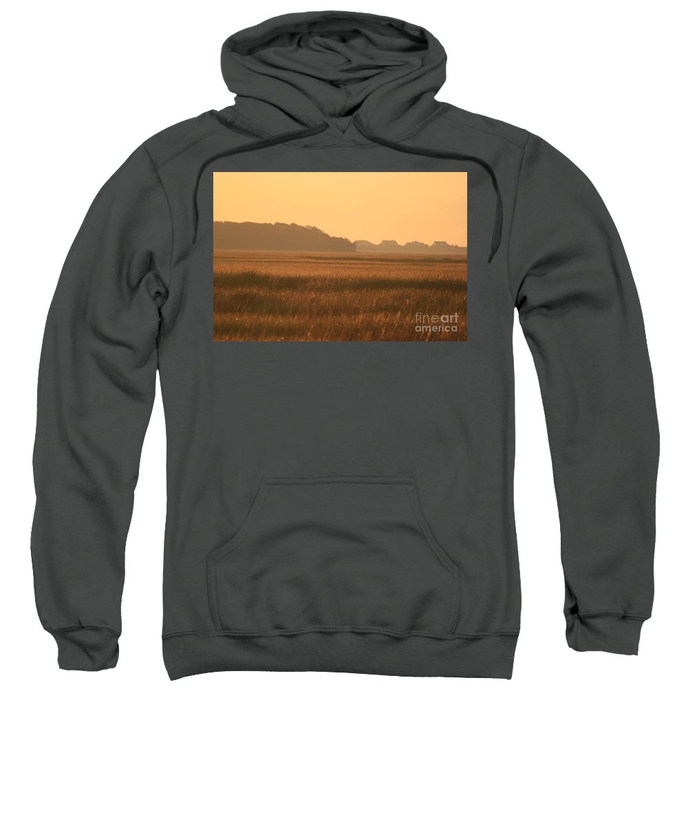 Marsh Sweatshirt featuring the photograph Golden Marshes by Nadine Rippelmeyer