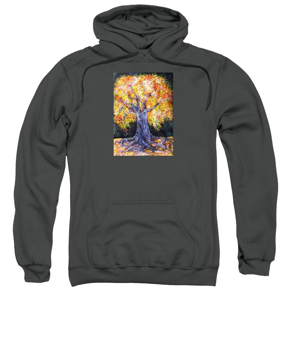 Landscape Sweatshirt featuring the drawing Golden Oak by Anna Duyunova
