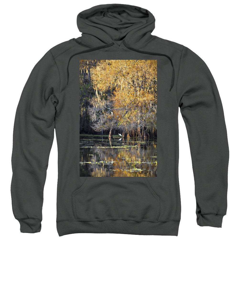 Golden Hour Sweatshirt featuring the photograph Golden On The River by Carolyn Marshall
