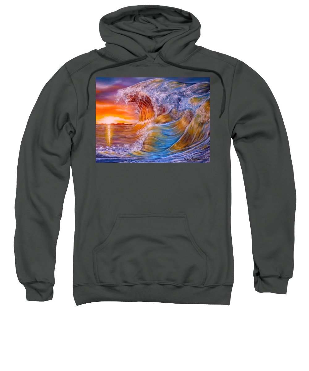 Waves Sweatshirt featuring the painting Golden Rage by Faye Anastasopoulou