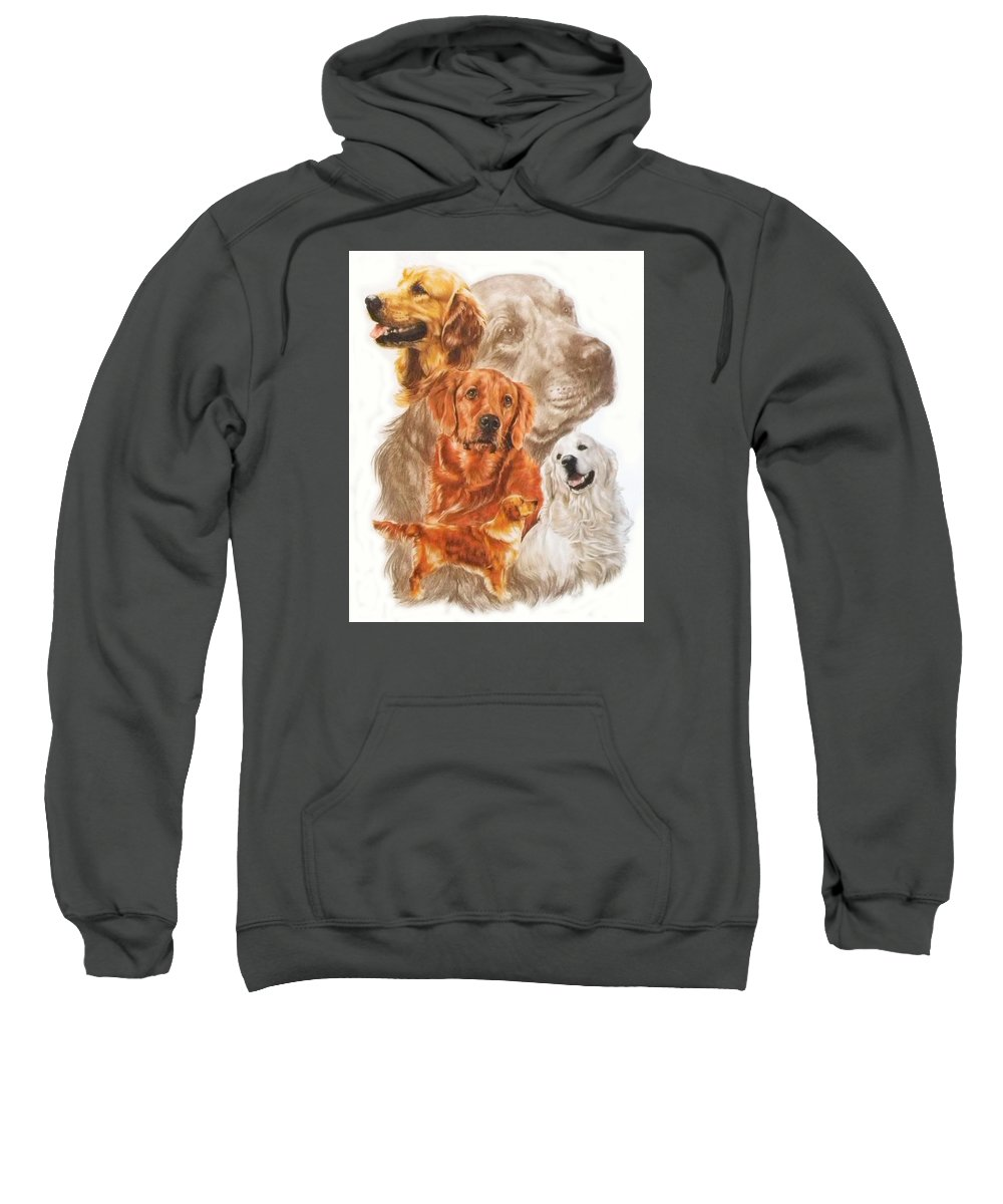 Retriever Sweatshirt featuring the mixed media Golden Retriever W/ghost by Barbara Keith