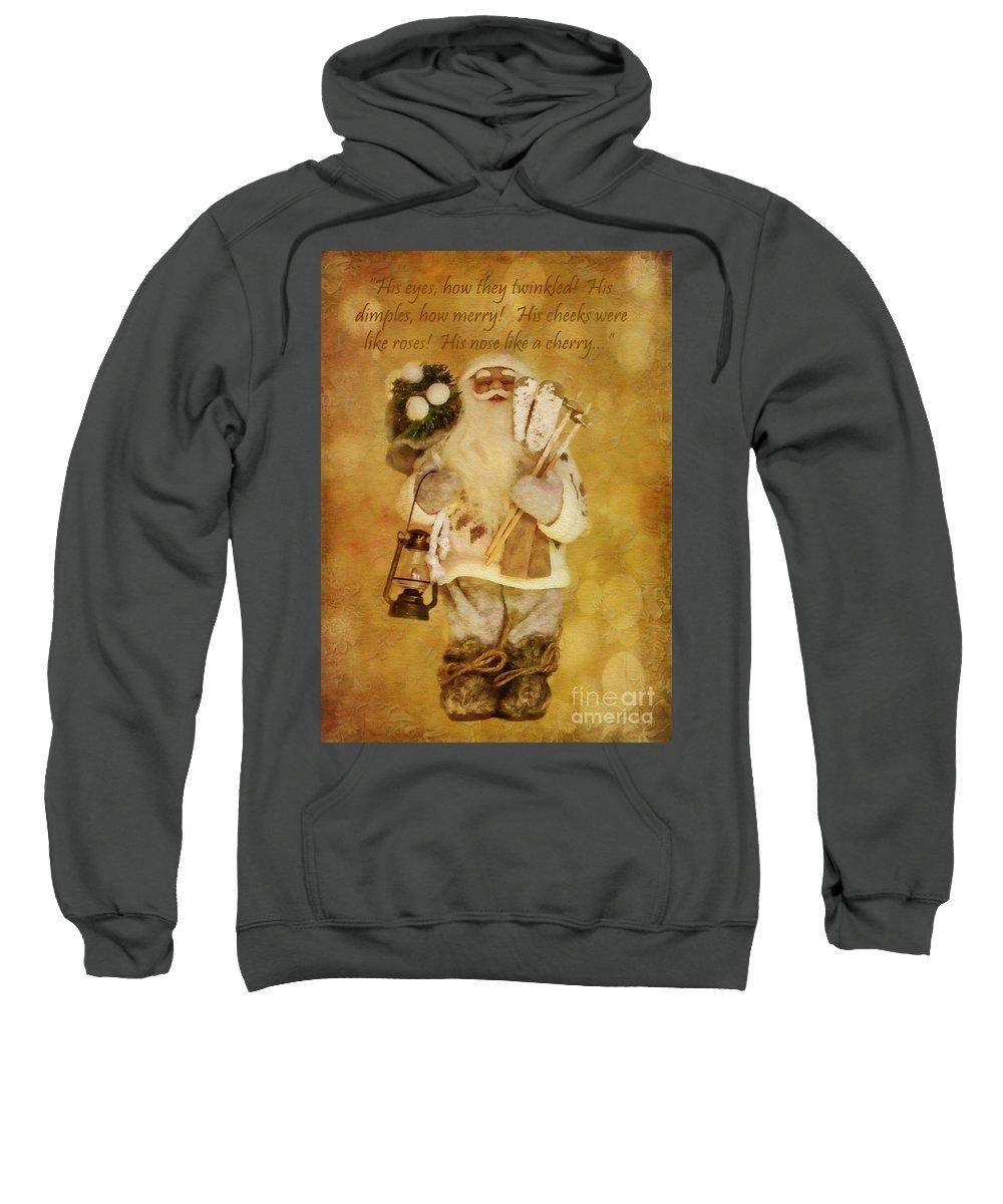 Holiday Sweatshirt featuring the digital art Golden Santa Card 2015 by Kathryn Strick