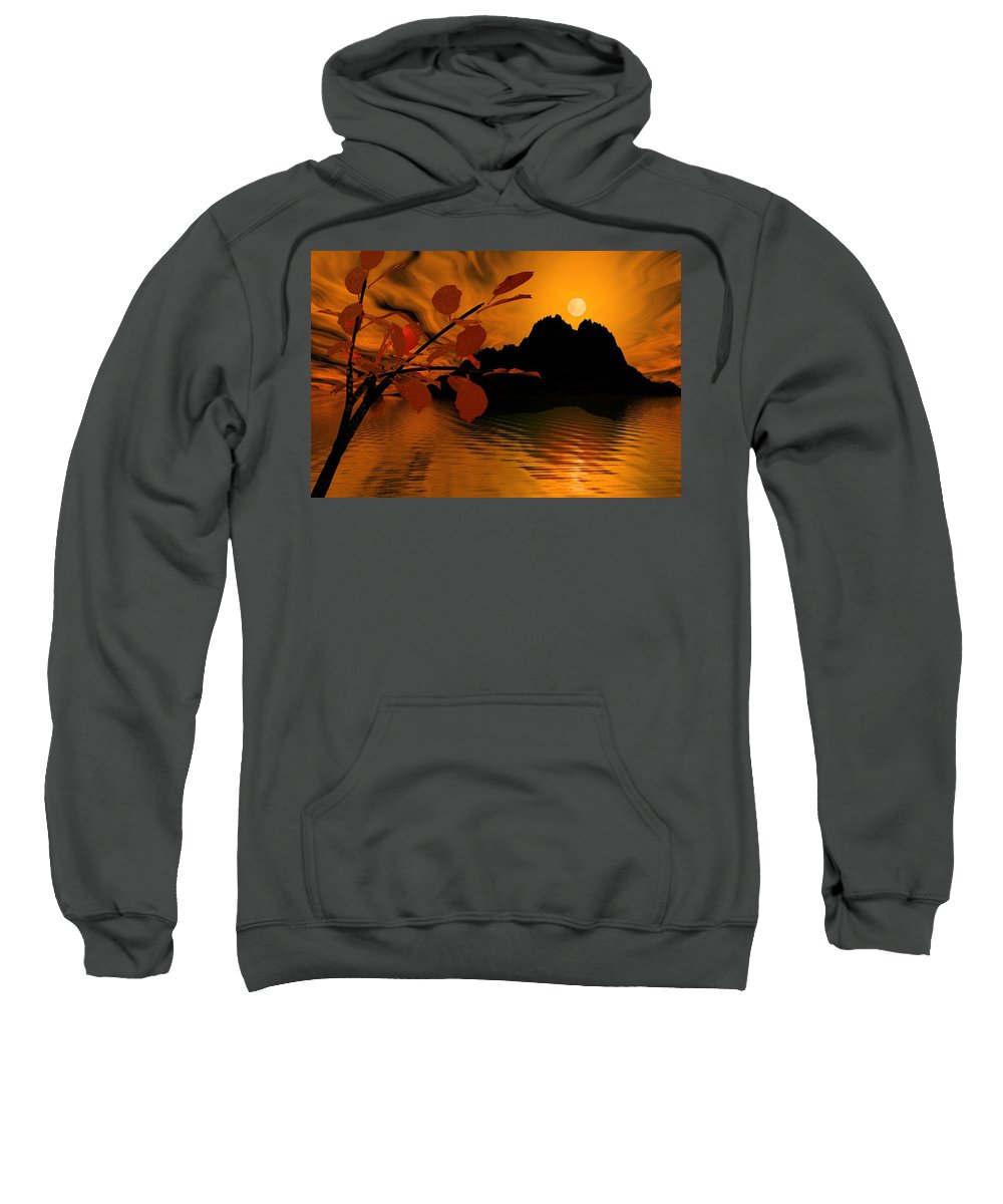Landscape Sweatshirt featuring the digital art Golden Slumber Fills My Dreams. by David Lane