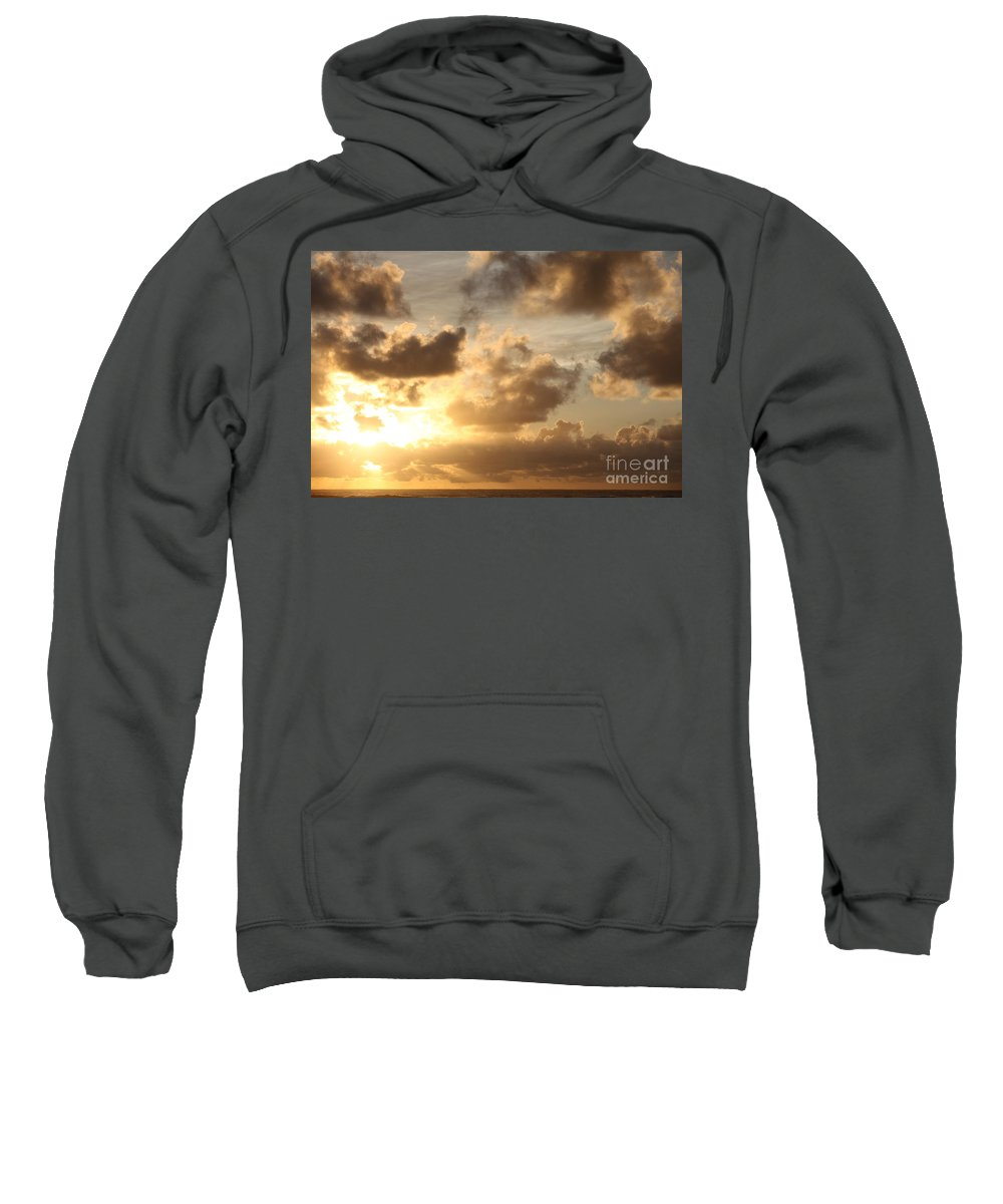 Sunrise Sweatshirt featuring the photograph Golden Sunrise On Kauai by Nadine Rippelmeyer