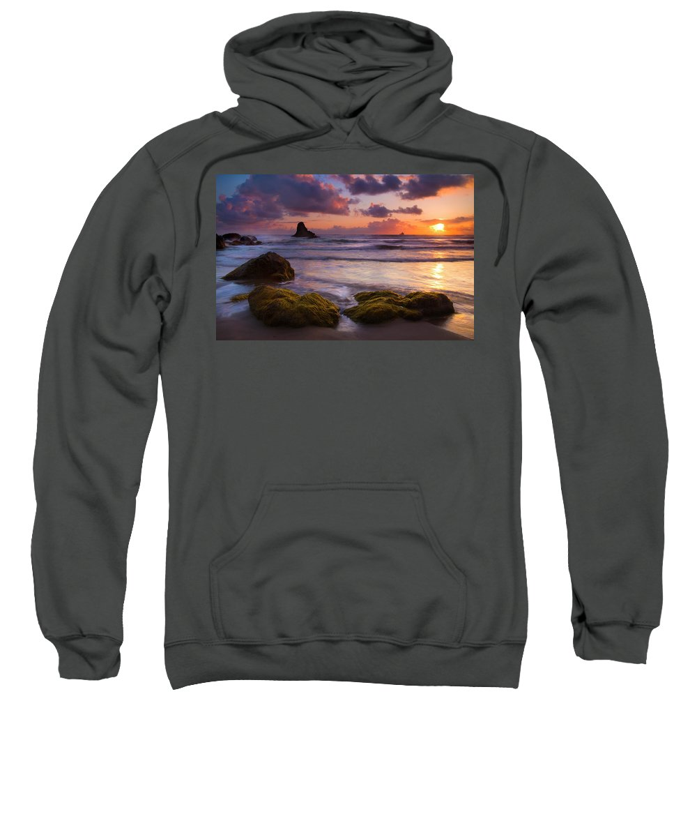 Sunset Sweatshirt featuring the photograph Golden Tides by Mike Dawson