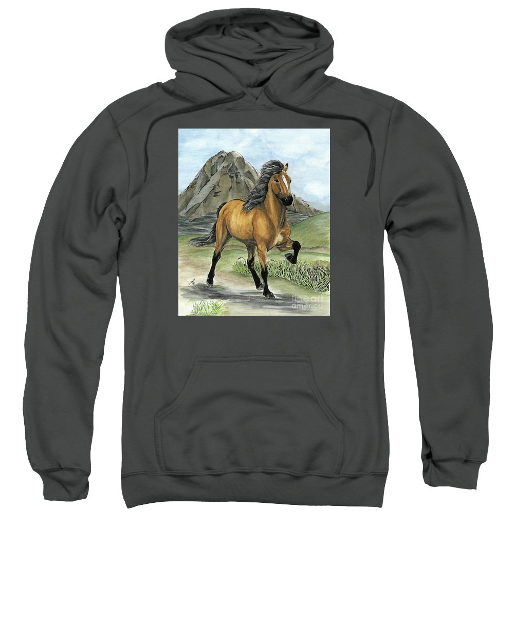 Icelandic Horse Sweatshirt featuring the painting Golden Tolt Icelandic Horse by Shari Nees