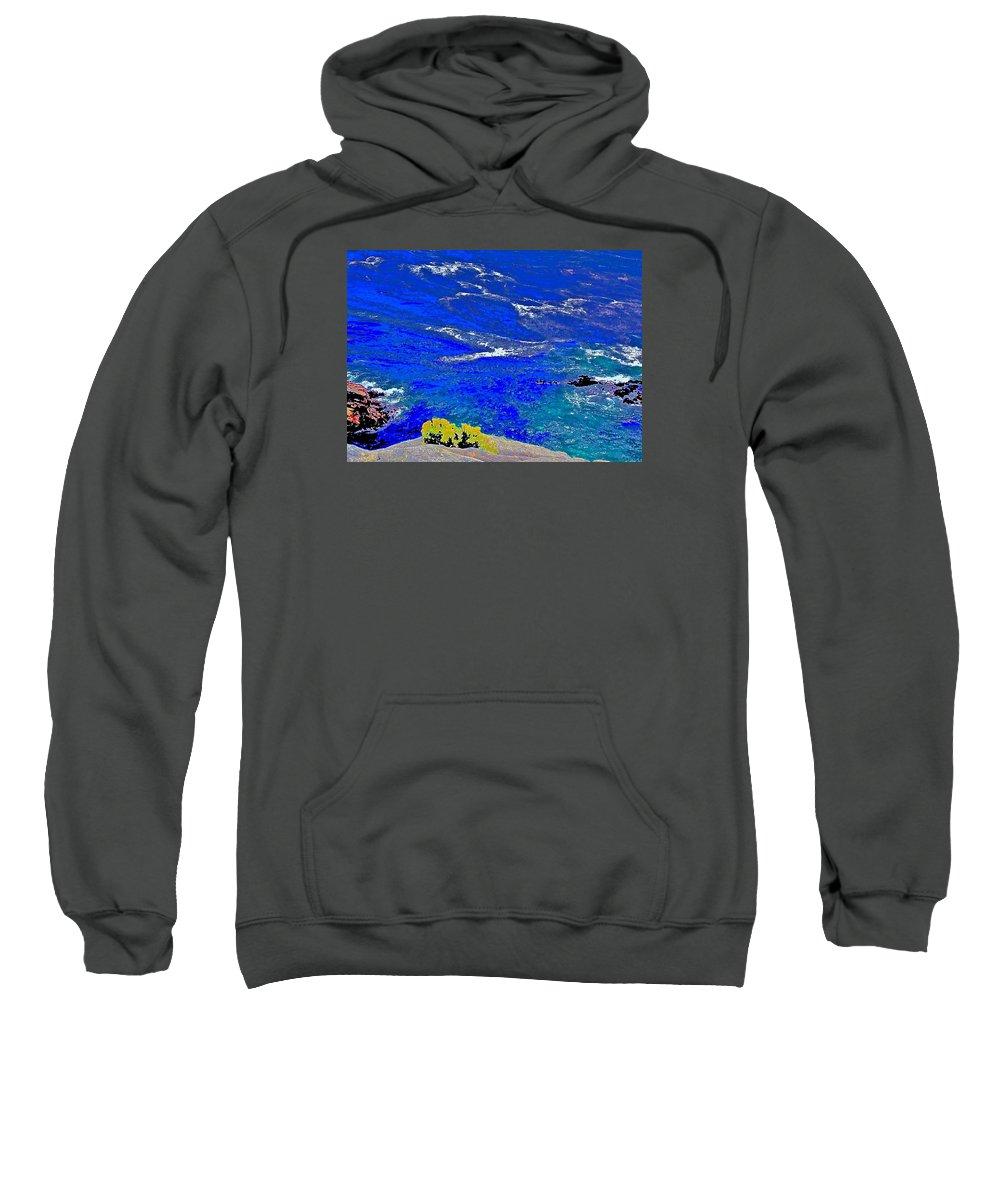 Point Lobos Sweatshirt featuring the photograph Golden Yarrow Rock Sea Point Lobos by Scott L Holtslander