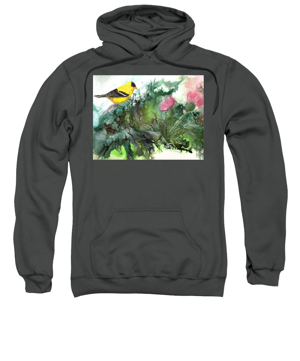 Bird Sweatshirt featuring the painting Goldfinch by Sherry Shipley