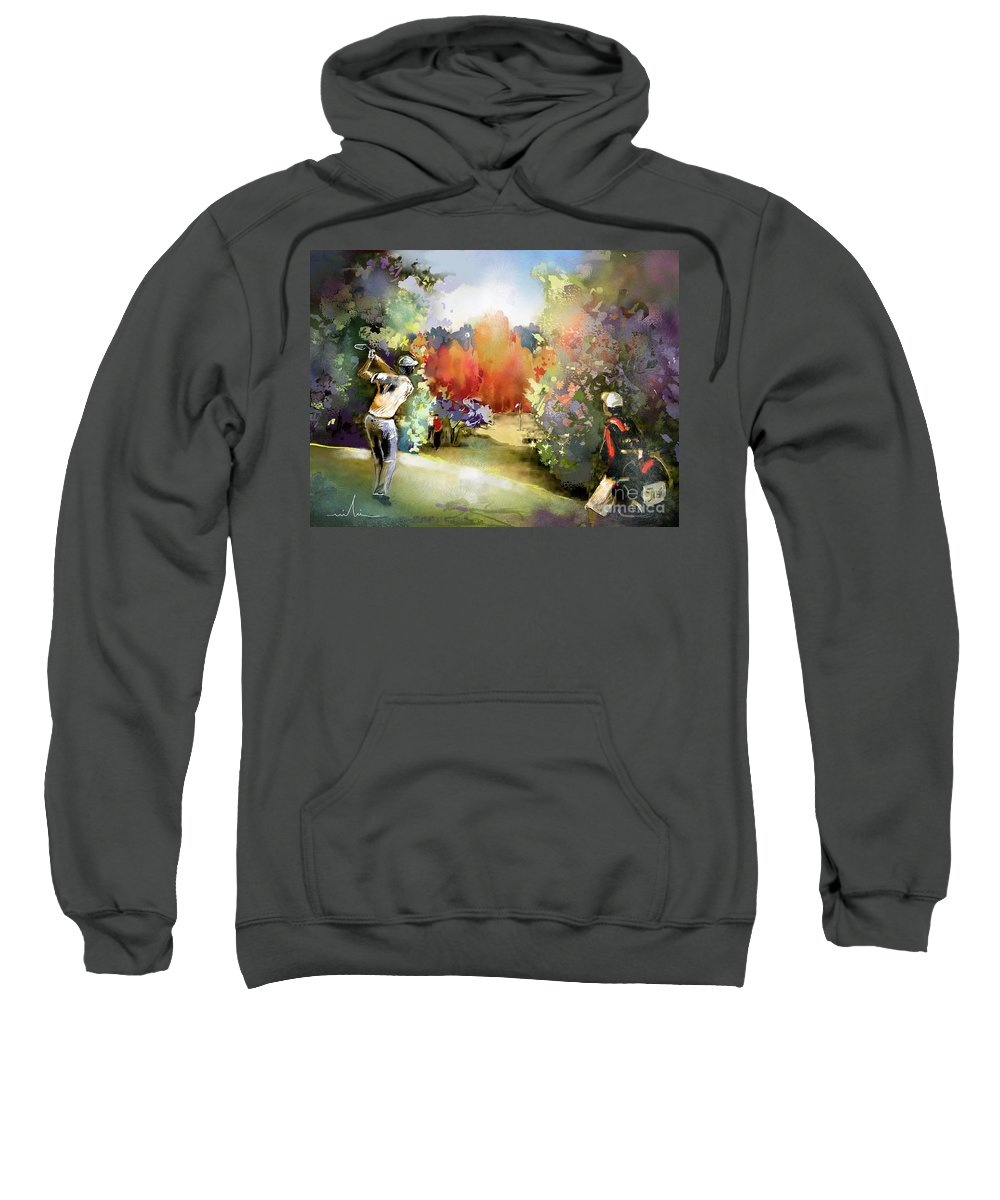 Golf Painting Golfer Sport Gut Laerchenhof Mercedes-benz Championship Pga Golf Sweatshirt featuring the painting Golf In Gut Laerchehof Germany 02 by Miki De Goodaboom