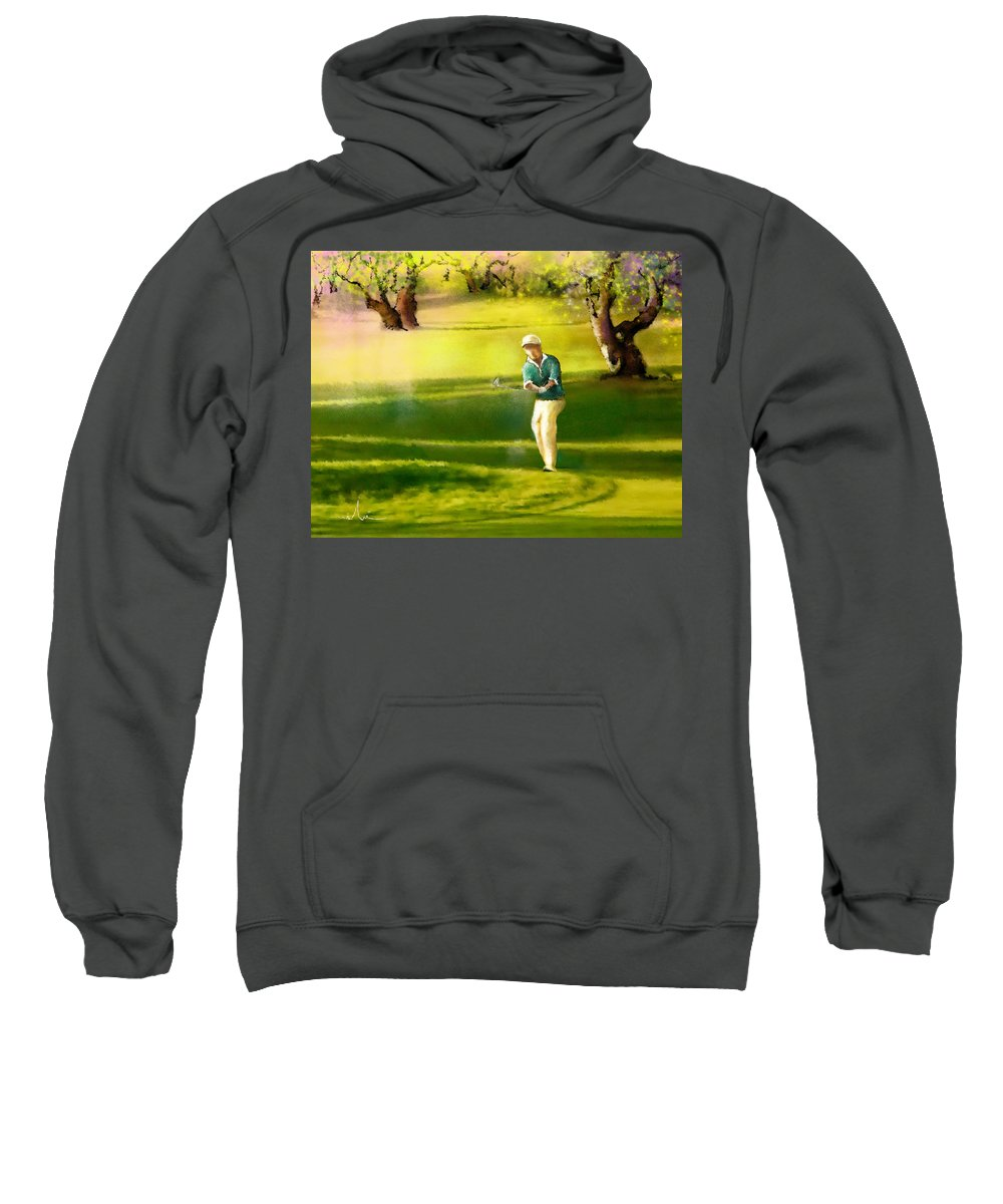 Sports Sweatshirt featuring the painting Golf In Spain Castello Masters 02 by Miki De Goodaboom