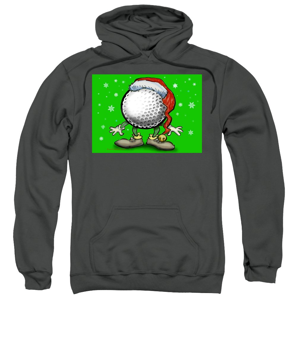 Golf Sweatshirt featuring the greeting card Golfmas by Kevin Middleton