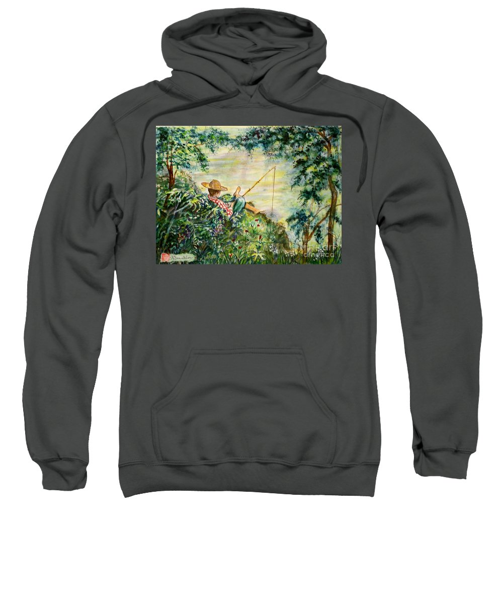 Landscape Sweatshirt featuring the painting Good Fishing by Norma Boeckler