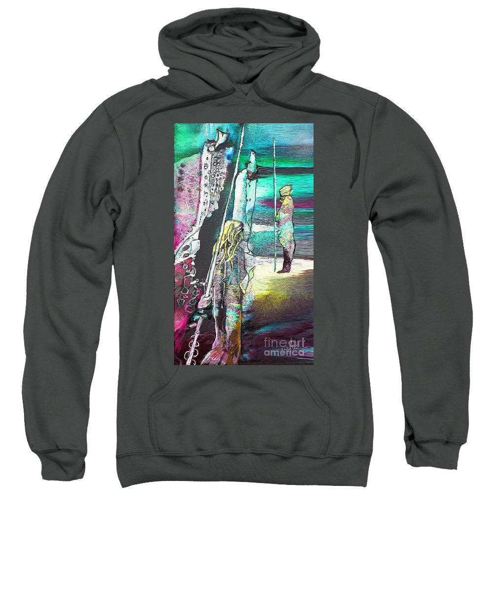 Biblescape Sweatshirt featuring the painting Good Lord Show Me The Way by Miki De Goodaboom