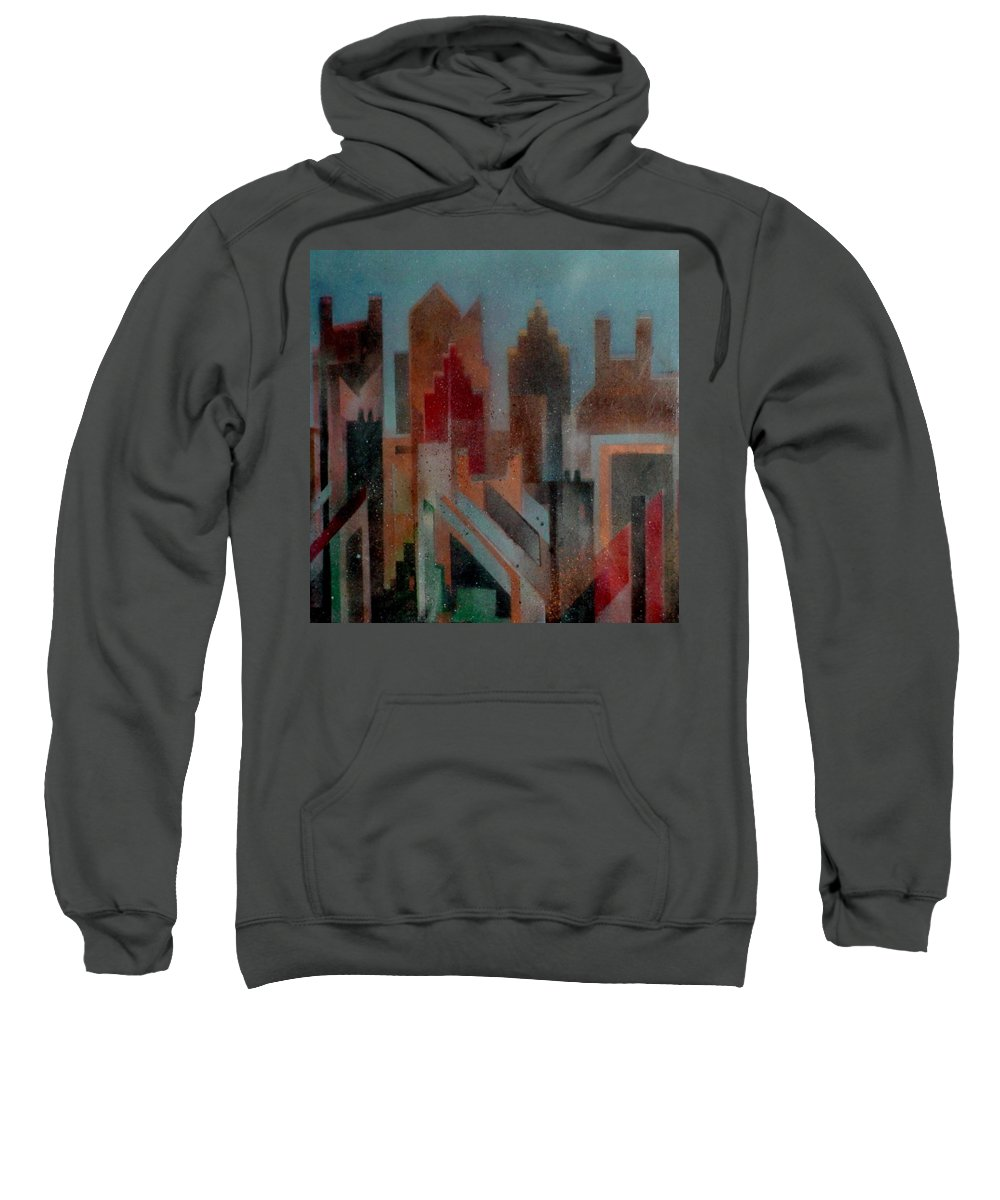 Abstract Sweatshirt featuring the painting Gothem City by Anita Burgermeister