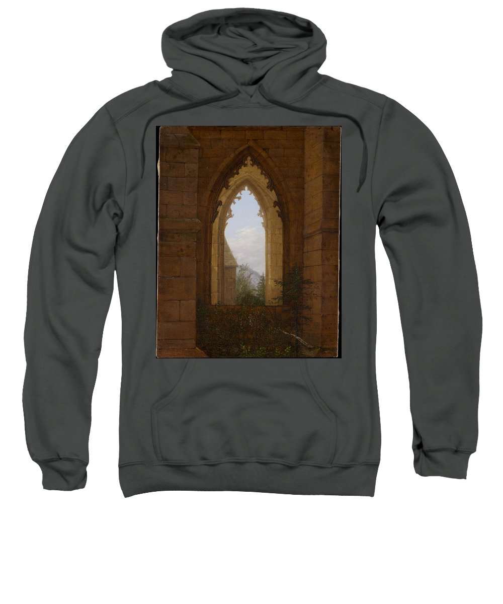 Gothic Sweatshirt featuring the painting Gothic Windows In The Ruins Of The Monastery At Oybin by Carl Gustav Carus