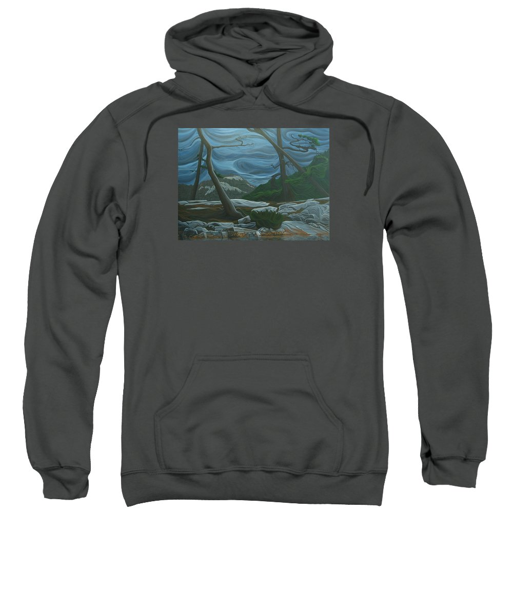 Grace Lake Sweatshirt featuring the painting Grace Lake by Jan Lyons
