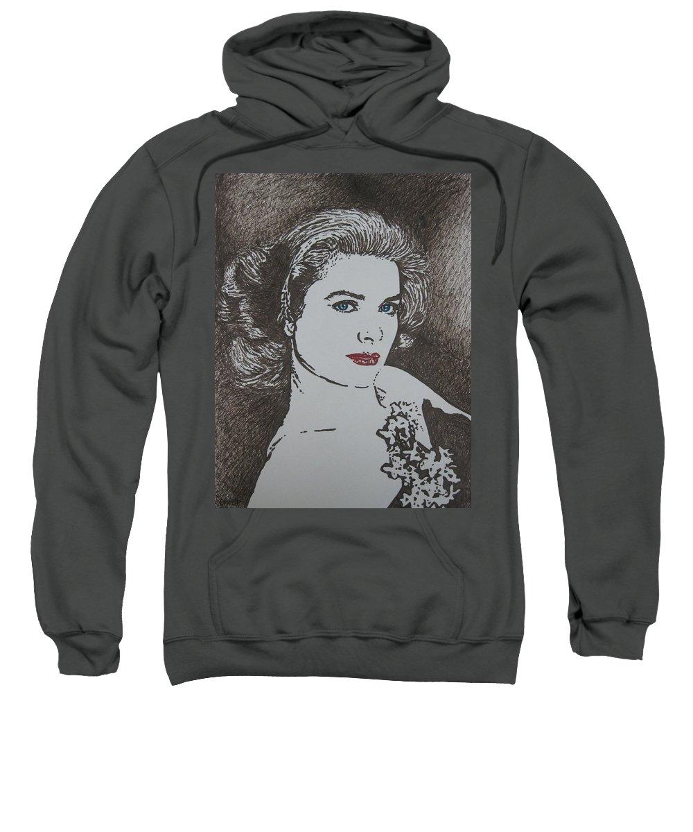 Grace Kelly Sweatshirt featuring the drawing Grace by Lynet McDonald