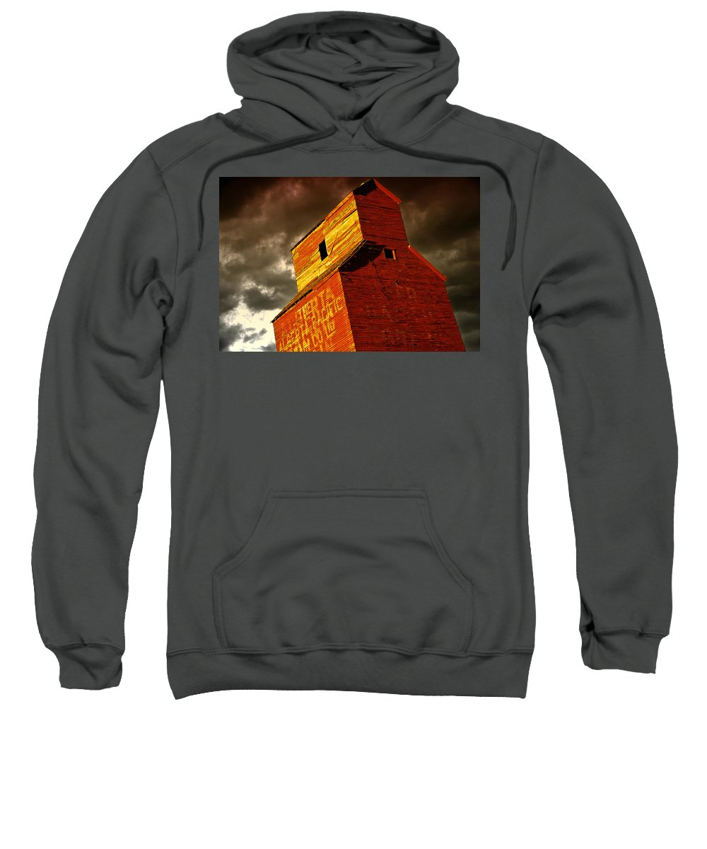 Abandoned Sweatshirt featuring the photograph Grain Elevator by Wayne Sherriff