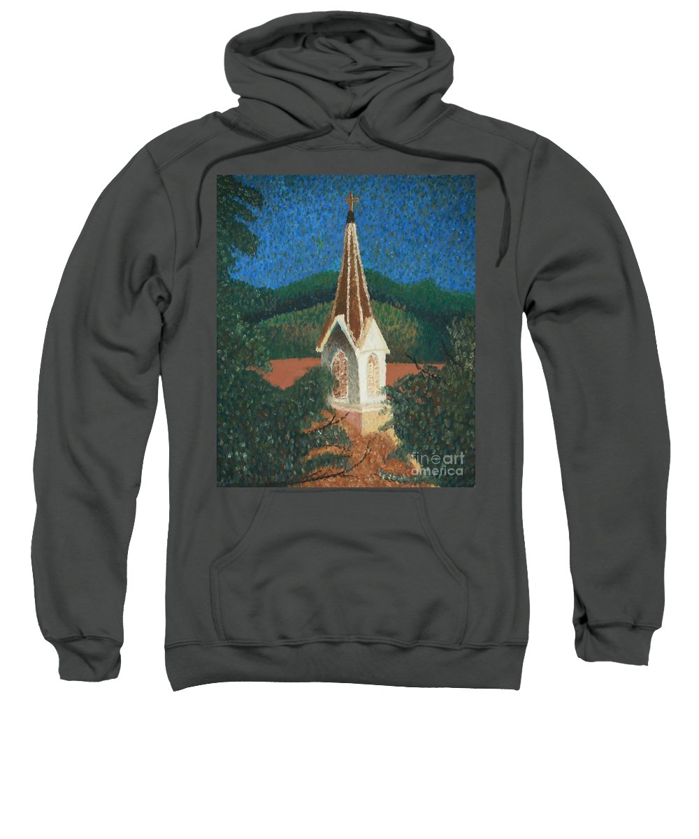 Grandma's Church Sweatshirt featuring the painting Grandmas Church by Jacqueline Athmann