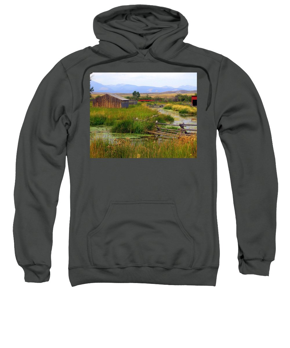 Ranch Sweatshirt featuring the photograph Grant Khors Ranch Deer Lodge Mt by Marty Koch