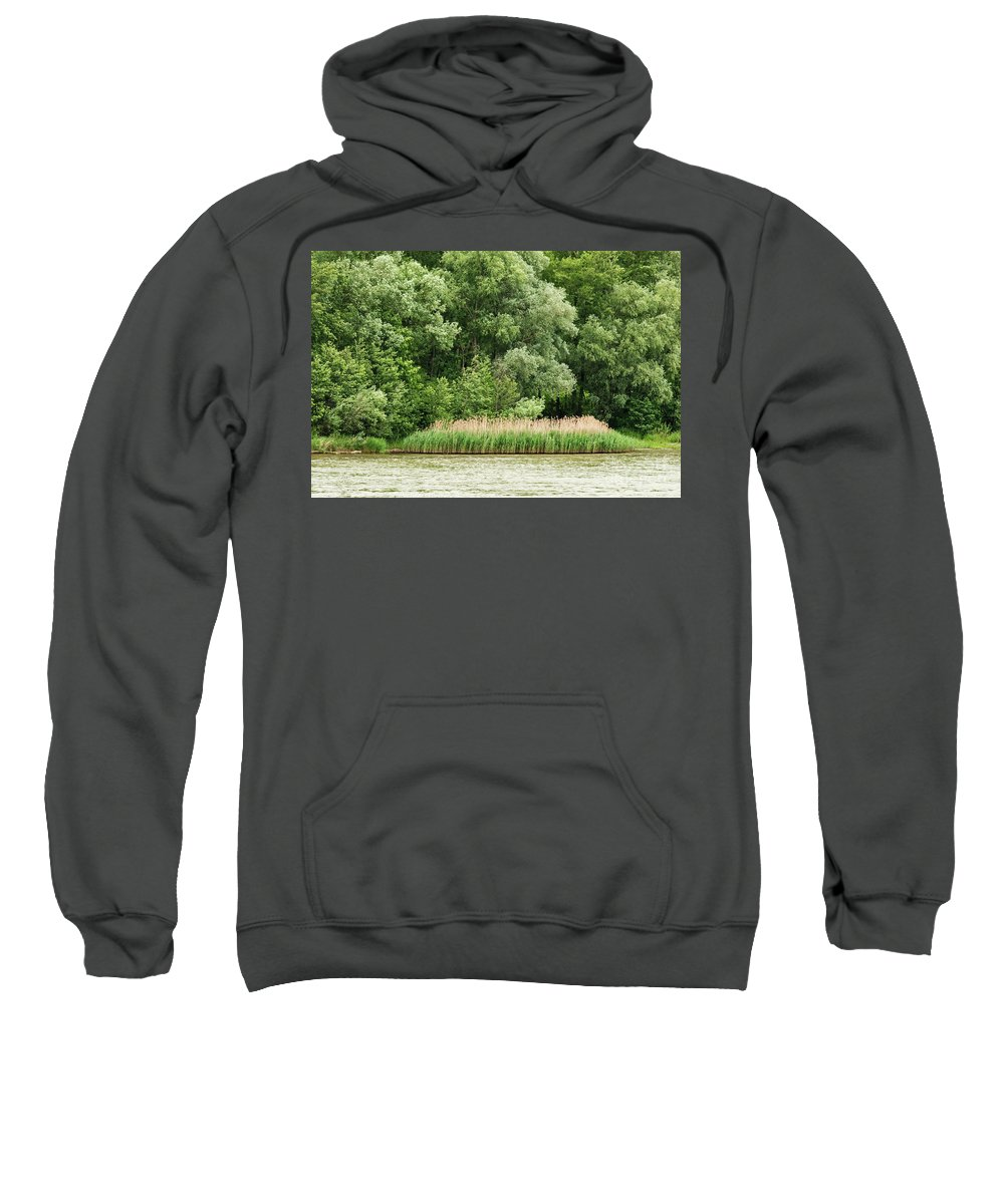 Austria Danube River Rivers Water Grass Grasses Tree Trees Landscape Landscapes Sweatshirt featuring the photograph Grasses And Trees by Bob Phillips