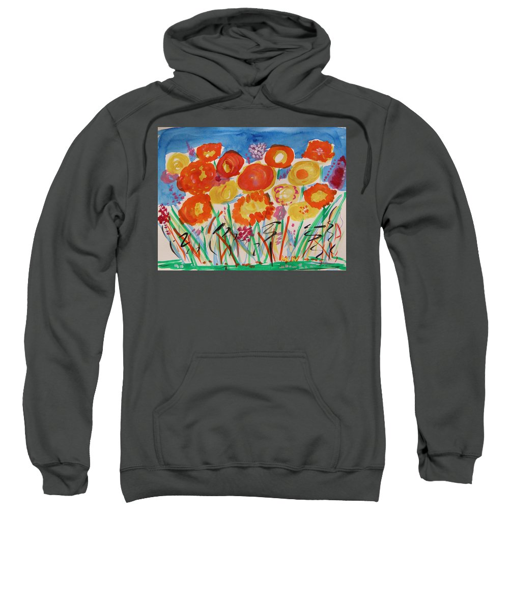 Sky Sweatshirt featuring the painting Grasses Can't Hide by Mary Carol Williams
