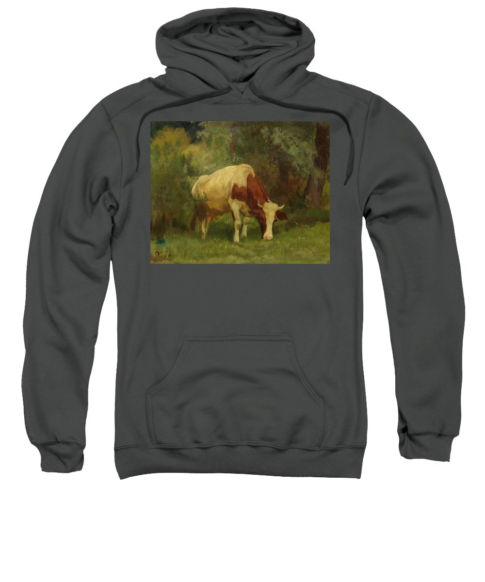 Koller Sweatshirt featuring the painting Grazing Cow by MotionAge Designs