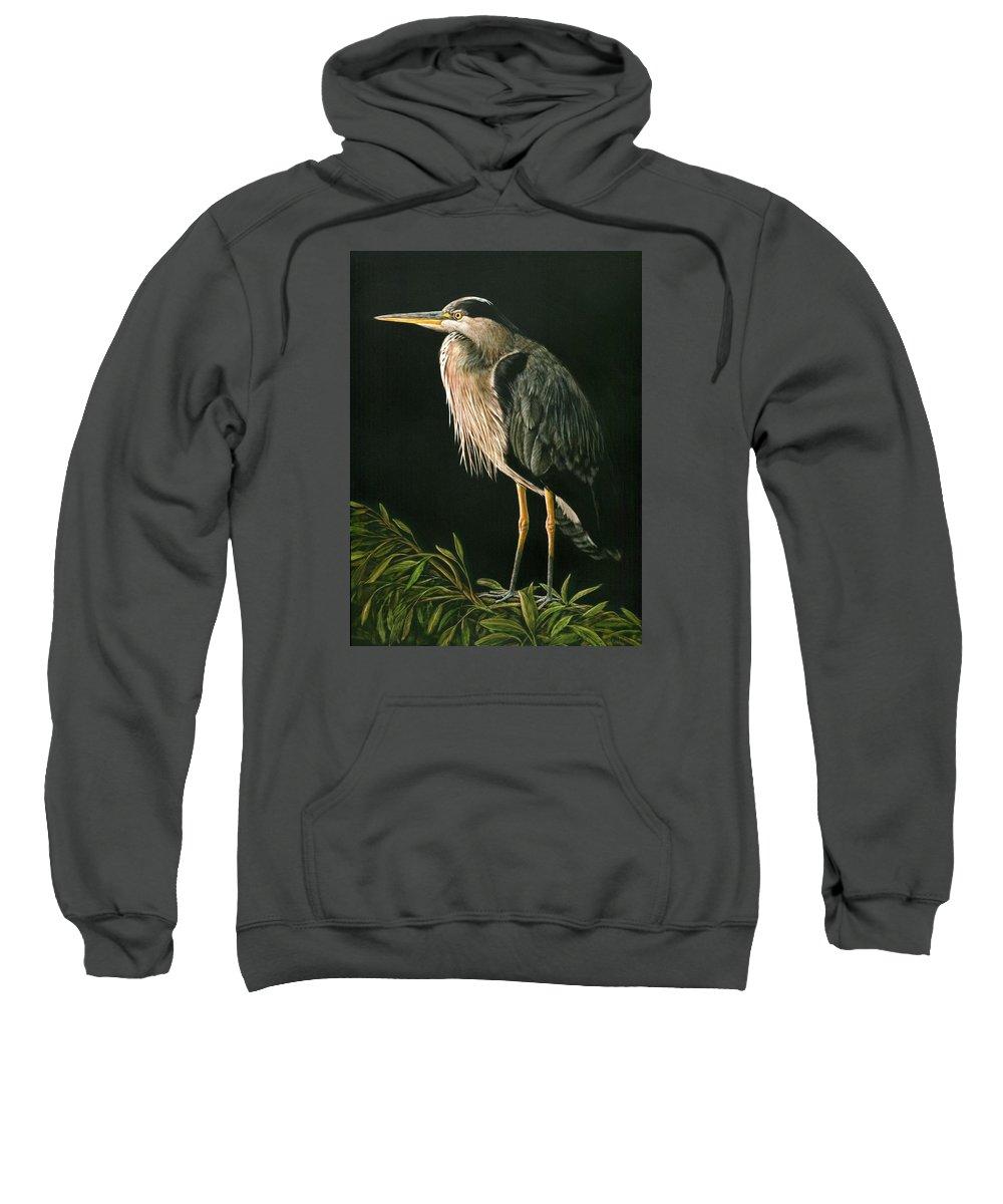 Heron Sweatshirt featuring the drawing Great Blu Heron by Sue Kroll