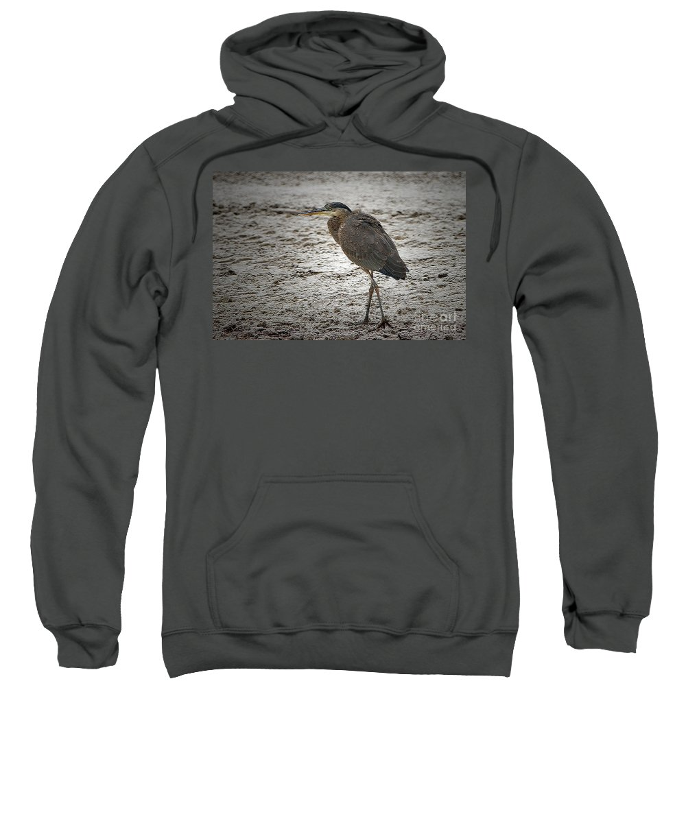 Great Blue Heron Sweatshirt featuring the digital art Great Blue Heron In The Snow by Sharon Talson