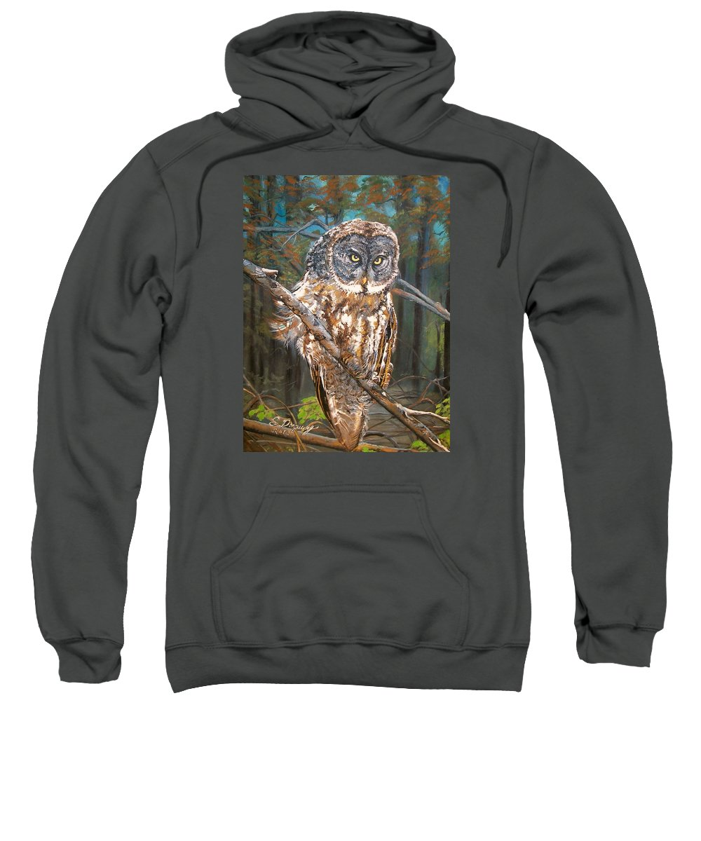 Tags Sweatshirt featuring the painting Great Grey Owl 2 by Sharon Duguay