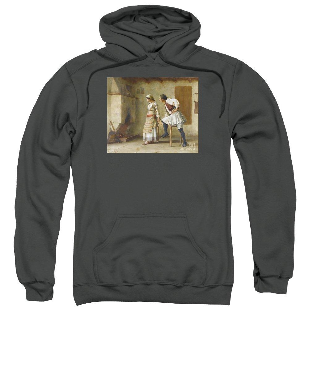 Theodoros Ralli 1852-1909 Greek Flirtation Sweatshirt featuring the painting Greek Flirtation by MotionAge Designs