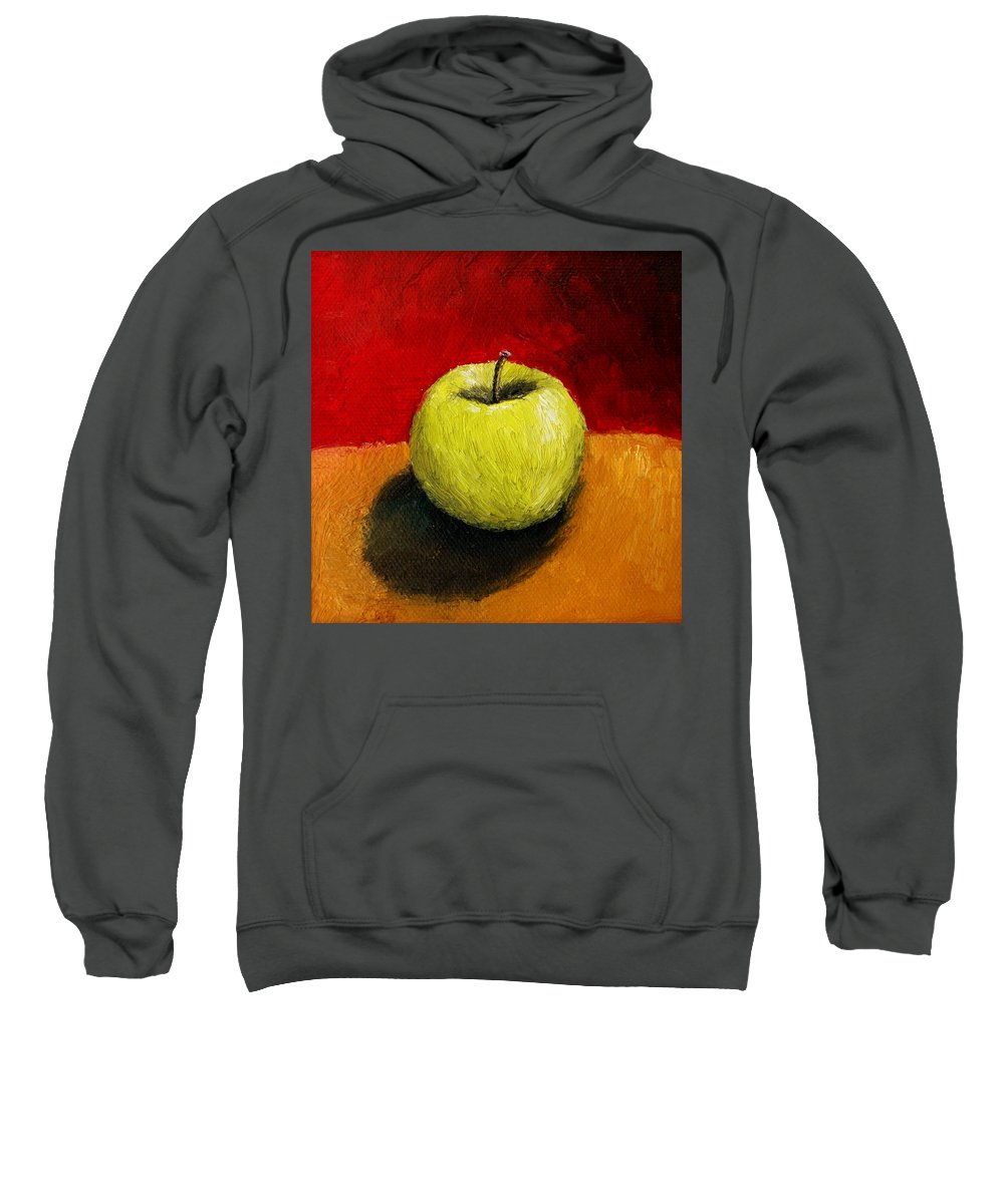 Apple Sweatshirt featuring the painting Green Apple With Red And Gold by Michelle Calkins