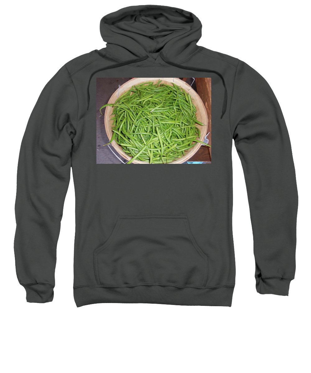 Green Beans Sweatshirt featuring the painting Green Beans by Jeelan Clark