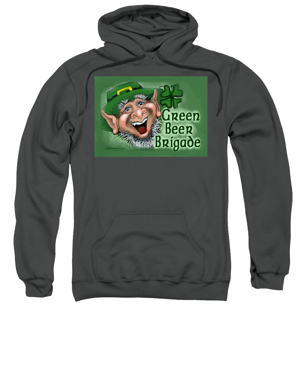 Green Beer Sweatshirt featuring the greeting card Green Beer Brigade by Kevin Middleton