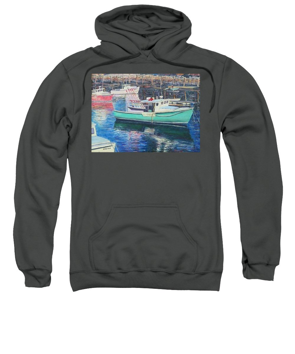 Water Sweatshirt featuring the painting Green Boat Reflections by Richard Nowak